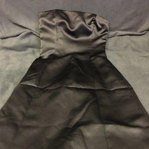 NICOLE MILLER Black Button Strapless Evening Gown